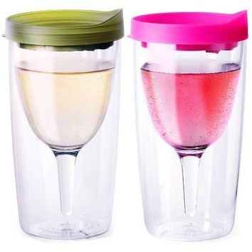 Vino2Go Set of 2 Double Wall Insulated Wine Tumblers Verde and Pink Slide Top Lids 10 oz.