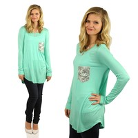 Casual Glamour Top in Mint
