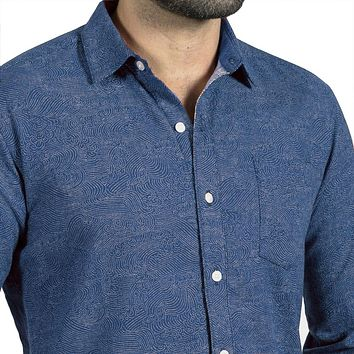 Brilliant Blue Japanese Swirl Print Shirt - Scarborough Sizes S & L Available