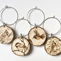 Bird Wine Glass Charms, set of 4 rustic wood burned wine glass markers, natural wood, handmade, rustic kitchen decor, wine lover gift