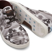 TOMS Shoes Black Palm Trees Canvas Paseos Sneakers Men's Mid Top Shoes,