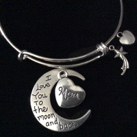 I Love you to the Moon and back Mom Charm Silver Expandable Charm Bracelet Wire Bangle Meaningful Gift Adjustable Stacking Trendy