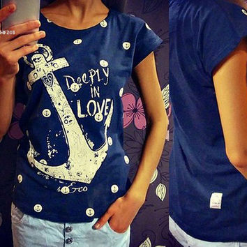 2016 Women's T-Shirts Summer Style Women Fashion Tops Letter Print Anchor Slim Casual Shirts Female Tops Tee Blue/White 35
