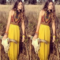 Boho Women Floral Maxi Dress Sleeveless Summer Evening Long Skirt Beach Sundress