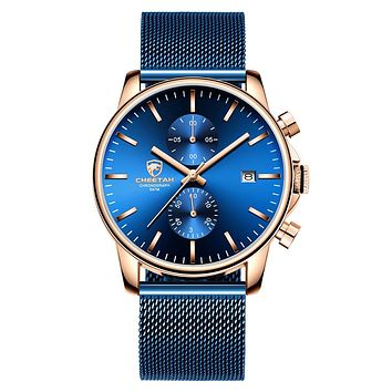 GOLDEN HOUR Men's Watches Fashion Sport Quartz Analog Black Mesh Stainless Steel Waterproof Chronograph Wrist Watch, Auto Date in Blue/Red/Gold Hands rose gold blue