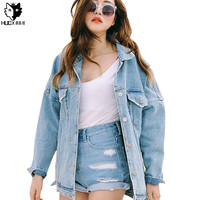 HUOX Spring Autumn Boyfriend Denim Jackets Female Turn-Down Collar Jeans Outwear Loose Brief Light Color Pocket Casual Coats