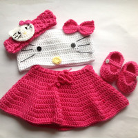 Hello Kitty Pattern In PDF Tutorial File, crochet hello Kitty pattern, Hello Kitty crochet Pattern, crochet outfit for girls