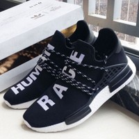 """Adidas"" NMD Human Race Black Leisure Running Sports Shoes Black"