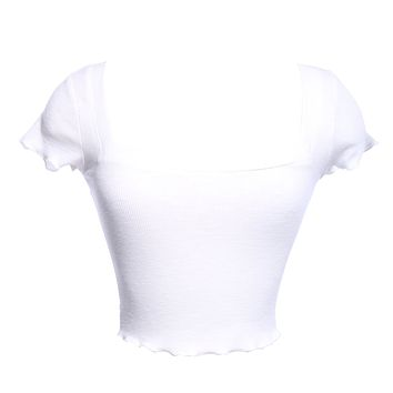RIBBED SQUARE NECK CROP TOP - WHITE