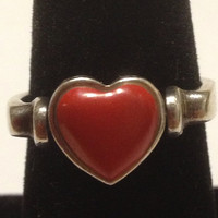 ON SALE Red Coral Heart Ring Reversible Size 8 Heart Spinner Sterling Silver Filigree 925 Genuine Vintage Jewelry Gift Genuine Cocktail Sout
