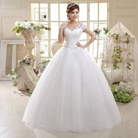 Double Shoulders Crystal Lace Up Wedding Dress