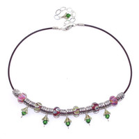Pink red green brown leather cord short necklace Swarovski crystal Silver plated Multicolored choker Czech glass flower bead Adjust string