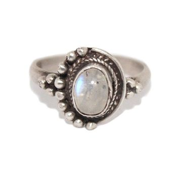 925 Sterling Silver Ring Rainbow moonstone Ring Boho Ring Tribal Ring