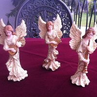 Set of 3 Vintage Potteries Angels Figurines , Collectible , Home Decor