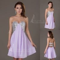 Free Ship Strapless Short Briedsmaid Formal Prom Cocktail Party Homecoming Dress