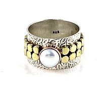 Pearl Three Tone Sterling Silver Leaf Band Ring