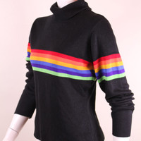 Vintage - 90s - Black - Rainbow Stripe - Knit - Turtleneck - Womens Sweater