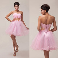 Grace Karin Strapless Voile Formal Gown Wedding Party Ball Gown Cocktail Prom Short Dress = 5739031297