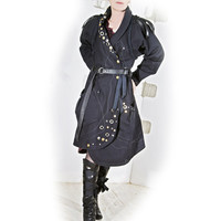 Studded Denim Trench Coat soft Black  handmade  by lummedesigns