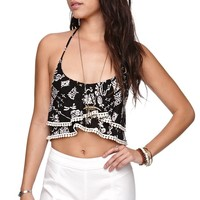 LA Hearts Bobble Trim Cropped Halter Top - Womens Tees - Floral - Extra Small