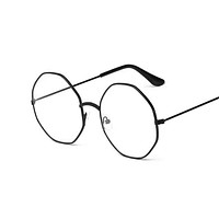 Fashion Round Glasses For Women Men Vintage Classic Metal Flat Mirror Optical Spectacles Frame Unisex Vision Care Eyeglasses