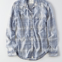 AEO Washed Plaid Boyfriend Shirt, Green