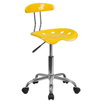 Flash Furniture Vibrant Orange-Yellow and Chrome Task Chair with Tractor Seat [LF-214-YELLOW-GG]