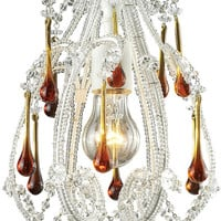 """0-035238>8""""w Opulence 1-Light Pendant Antique White with Amber Crystal Shade"""