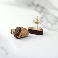 cloud stud earrings, cherry wood, the storm will pass, fake plugs, round circle studs, minimal