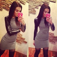 Vogue Women's Slim Leather Long Sleeved Houndstooth Print Cocktail Mini Dress S0