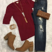 Basic V-Neck Mid Sleeve Tee: Burgundy