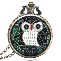 Vintage Bronze Black Owl Quartz Pocket Watch Clock Necklace Pendant Womens Men Christmas GIfts Relogio De Bolso P910