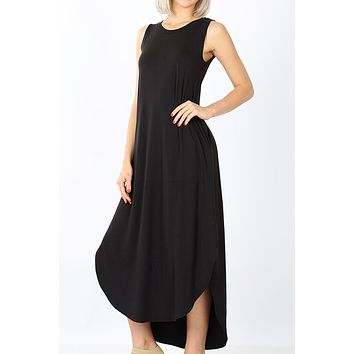 Casual Loose Fit Round Neck Sleeveless Maxi Dress