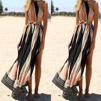 Summer Women's Fashion Bohemia Beach Print One Piece Dress [6343446529]