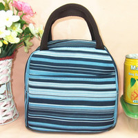 Blue Striped Canvas Lunch Bag