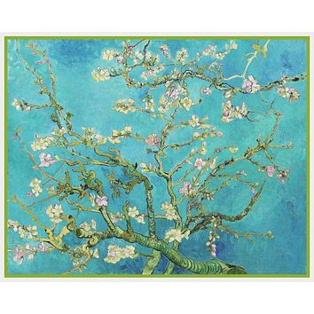 Almond Branches on Teal Blue Background by Vincent Van Gogh Counted Cross Stitch Pattern