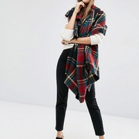 ASOS Oversized Square Scarf in Black Based Tartan Check at asos.com