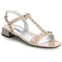 Prada Studded Patent Leather Sandals