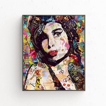 Amy Winehouse Art Oil Painting Poster Prints Home Wall Decor Painting 60x80cm|Painting & Calligraphy