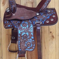 HILASON HORSE TACK WESTERN LEATHER BARREL RACING TRAIL PLEASURE SADDLE : HSOS204RO