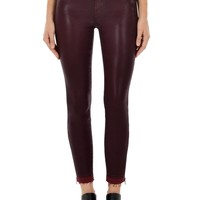 Alana High-Rise Crop w/ Released Hem and Zip in Coated Claret