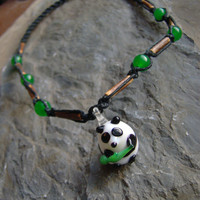 Hemp Necklace - Panda Necklace - Glass Panda - Hemp Jewelry - Black w/ Wood & Jade Beads