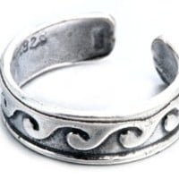 Sterling Silver Oxidized Surfer Waves Design Toe Ring Adjustable Fit Include Gift Pouch.