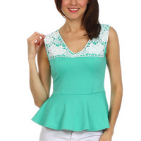 Crochet Front Yoke Peplum Top - Mint