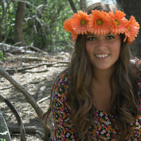 "Flower Crown - ""Calypso"", Orange Daisy Crown, Neon Daisy Headband, Festival Headband"