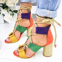 New fish - mouthed high - heeled plus-size sandals for women