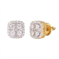 Square Shape Cluster Prong Solitaire Gold Tone Silver Earrings