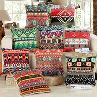 1Pcs National Stripe Boho Bohemian Style Cotton Linen Pillow Cushion Cover Home Decor Sofa Bed Decor Decorative Pillowcase 40149