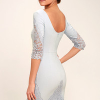 Midnight Garden Blue Grey Lace Bodycon Dress