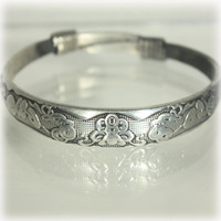 Tibetan Silver, Bangle Bracelet, Chinese Asian, Adjustable, Chinese Coins, Wealth, Good Fortune, Etched Silver